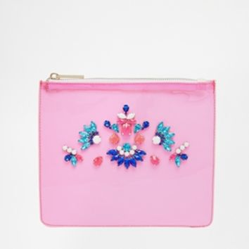 Skinnydip Pink Clutch Bag with Embellishment