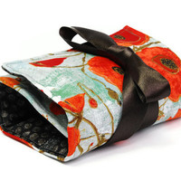 Make up bag organizer in Poppies flower, fashion Makeup roll,  Cosmetic pouch, five pockets  Cosmetic bag