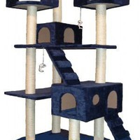 GoPetClub Cat Tree Condo Scratcher Post Pet Bed Furniture F2040-Blue