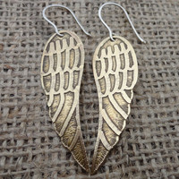 Acid-Etched Brass Angel Wing Earrings