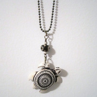 Turtle Necklace/Pendant with Tibetin Agate by 636designs