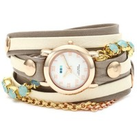 La Mer Collections Women's LMMULTI5002 Chandelier Crystal Chain Collection St. Tropez Watch
