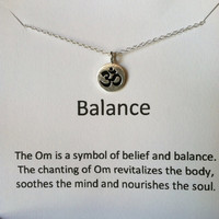 Om Necklace, Sterling Silver Necklace, Balance and Serenity