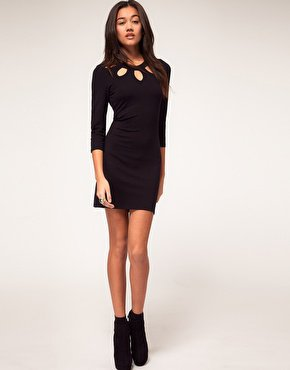 Vero Moda Petal Cut Out Neck Mini Dress at asos.com