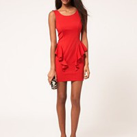 Lipsy Peplum Dress With Low Back at asos.com