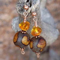 Rustic Etched Agate Amber Handmade Earrings Copper OOAK Beaded Jewelry