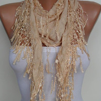 Tan Color Scarf with Trim Edge - New