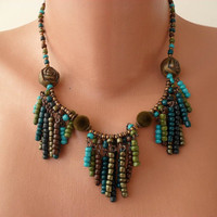 Green and Brown Necklace - Speacial Design