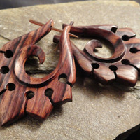 Organic Hand Carved Sono Wood Tribal Ornament Stirrup Hanger Earring