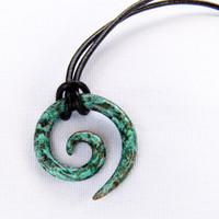 Koru Tribal Pendant in blue Caribbean