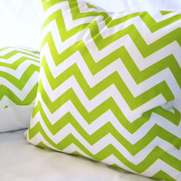 Chartreuse Lime Green chevron pillow 16 x 16