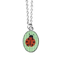 Dainty pop art Ladybug necklace - 