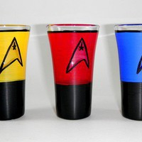 Star Trek inspired hand painted shot glass set of three