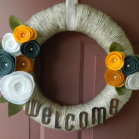 Spring Wreath - Welcome Sign - Summer Wreath - 14 Inch Yarn Wrapped Wreath with Felt Flowers, Pearls and Leaves