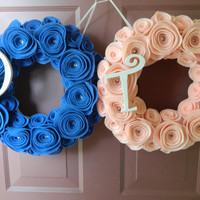 Twins Wreath - Boy and Girl Twins Wreaths made with Felt Flowers and Wooden Letters - Two 12 inch