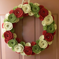 Fall Wreath - Autumn Wreath - Neutral Felt Flower Wreath in Olive, Sandstone and Ruby with Pearls