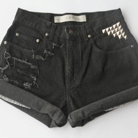 Black studded high waisted denim shorts
