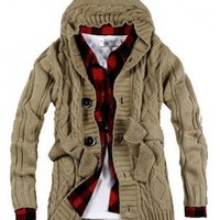 Men Long Sleeve with Hood and Sash Beige Knitting Sweater M/L@S0M20-1be $41.63 only in eFexcity.com.