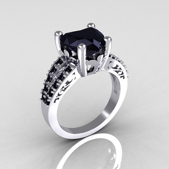 Modern French Bridal 10K White Gold 3.0 Carat Heart Black Diamond Solitaire Engagement Ring R134-10WGBDD