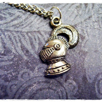 Tiny Knight's Helmet Charm Necklace in Antique Pewter with a Delicate 18 Inch Silver Plated Cable Chain