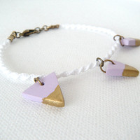Knotted Stacking Bracelet, White with Purple Gold Dipped Triangle Charms
