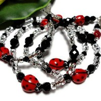 Ladybug Lanyard Id Badge Holder Jewelry Necklace Crystal Lampwork Bead