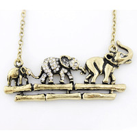 Special Gold-tone Crystal Elephant FAMILY NECKLACE