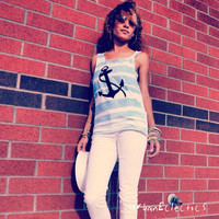 Nautical Anchor Rockabilly Tank- Made to Order