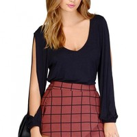 Chic Solid Tee with Split Cut-Out Sleeves - OASAP.com