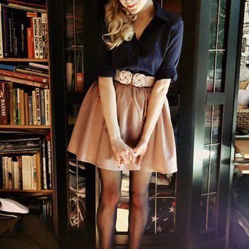 Wear This / Blonde. Navy blue. Belted. High waist. Tights. Polka dots. LOVE.