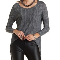 High-Low Ribbed Pullover by Charlotte Russe - Charcoal
