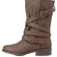 Bamboo Zipper-Belted Mid-Calf Moto Boots by Charlotte Russe - Brown