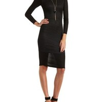 Sheer-Striped Long Sleeve Midi Dress by Charlotte Russe - Black Combo