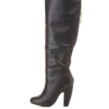 Bamboo Zip-Back Banana Heel Boots by Charlotte Russe - Black