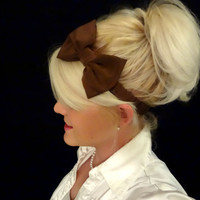 Chocolate brown bow stretch headband feminine/retro/pinup