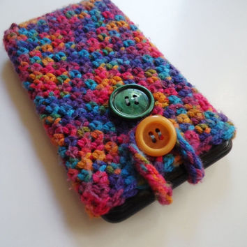 Crochet cell phone case cover, Iphone Smartphone case cover, multicolor phone case, crochet phone wallet, colorful mobile phone case