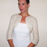 Ivory LACE WEDDING Shrug / BRIDAL Bolero Jacket / Angora Wedding Lace Bolero / Crochet Ivory Shrug / Lace Bridal Shrug / Angora Bolero