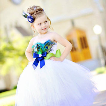 Peacock Feather Flower Girl Dress