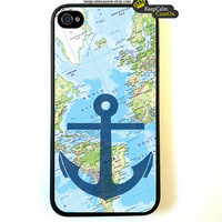 Nautical Map iPhone 4 Case / New Hard Fitted Case For iphone 4 & iphone 4S / iPhone Case