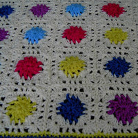Handmade crochet blanket -  Chunky yarn cream and mulit colour centre sections and edge  (nannycheryl original) 583