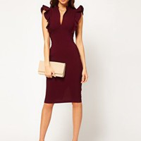 Hybrid Dress with Deep V Neck and Frill Sleeves at asos.com