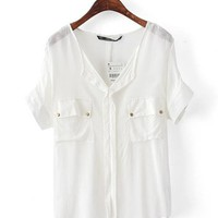Dual Port V Neck Bat Chiffon Shirt White$35.00