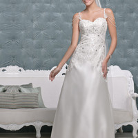 [$298.50] Spaghetti Straps Fully Beaded Bodice Satin Princess 2012 Wedding Dresses