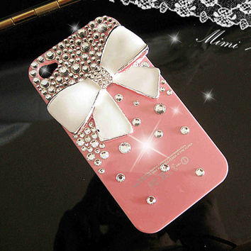 White Bow iPhone 4 Case iPhone 4S case Bling Crystal iPhone 4 Case Cute iPhone 4S pink Case hard Cover