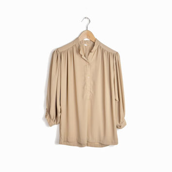 Vintage 70s Blouson Classic Blouse in Natural Tan - s