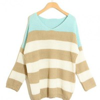 Green Striped Bat Long Sleeve  Sweater$39.00