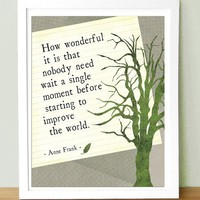 Anne Frank Quote How Wonderful It Is 8x10 by UUPP on Etsy