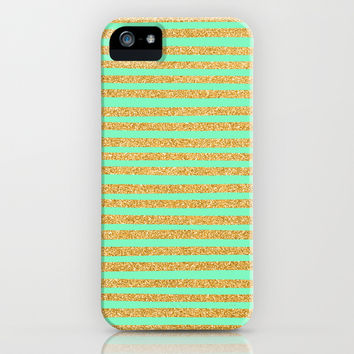 Golden Stripes & Mint iPhone & iPod Case by Sandra Arduini