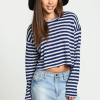 Navy Striped Woven Crop Top