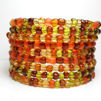 Memory Wire Bracelet Fall Brown and Orange Beaded Wrap Bracelet